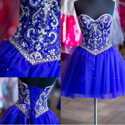 Homecoming Dresses,Short Prom Dresses,Homecoming Dresses,tulle Homecoming Dress,Pretty Party Dresses,Cute royal blue Dresses