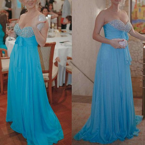 Long Dress prom dresses,evening gowns,chiffon prom gowns,blue prom gowns,new style fashion prom gowns