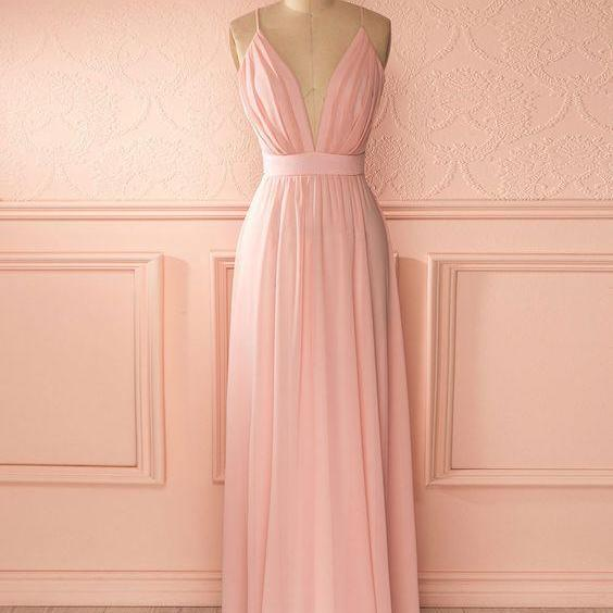2017 New Arrival Sexy Long Prom Dresses Pink Evening Party Dress,Pink Prom Gowns,Evening Gowns