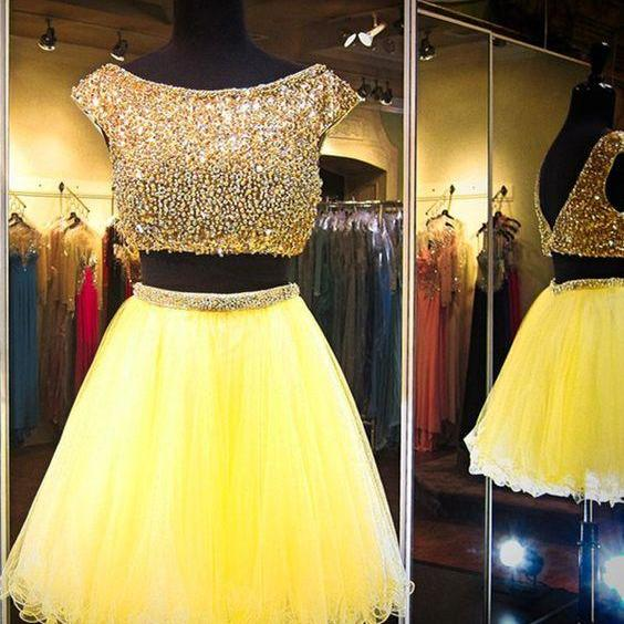 Custom Made Two-Piece Diamond Embellished Short Tulle Evening Dress, Homecoming Dress, Cocktail Dress