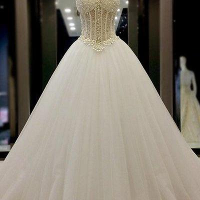 Strapless Sweetheart Beaded Corset Princess Ball Gown, Wedding Dress